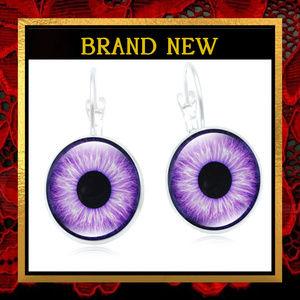 Violet Purple Eye Dangle Earrings #366